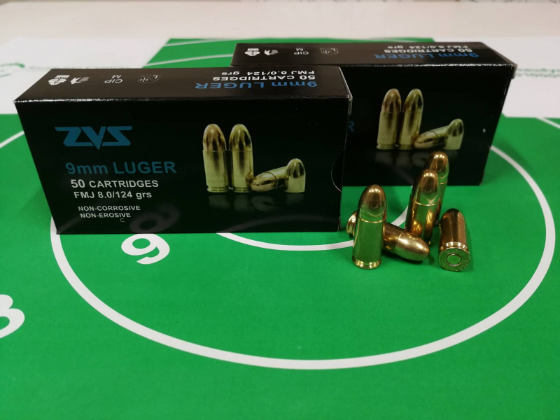 9mm   FMJ 8.0 g / 124 grs, LUGER, ZVS